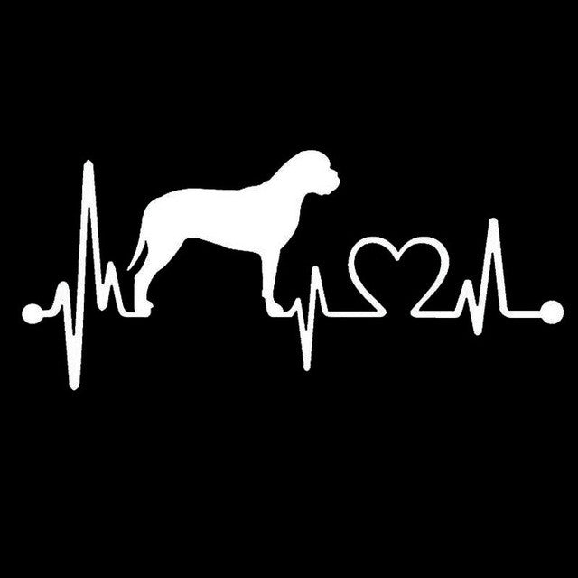 Bullmastiff Heartbeat Lifeline Car Decal - I Love Cat Socks