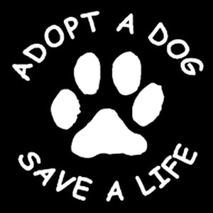 Adopt a Dog Paw Print  Car Decal