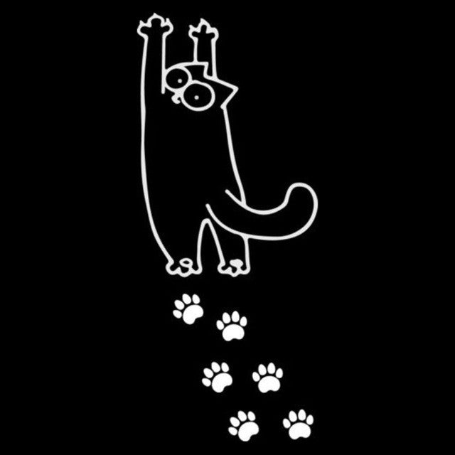 Cat Stretching With Foot Prints Car Decal - I Love Cat Socks