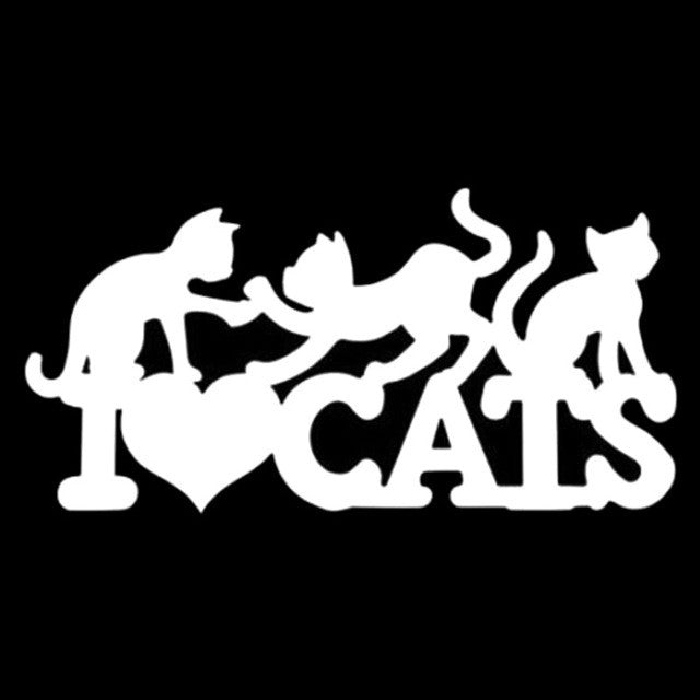 I Love Cats Car Decal