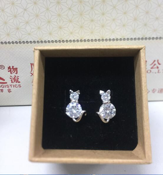 Cat Crystal Clear Design Earrings