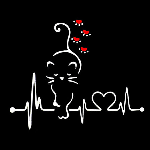 Image of Lovely Cat Heartbeat Paw Car Decal