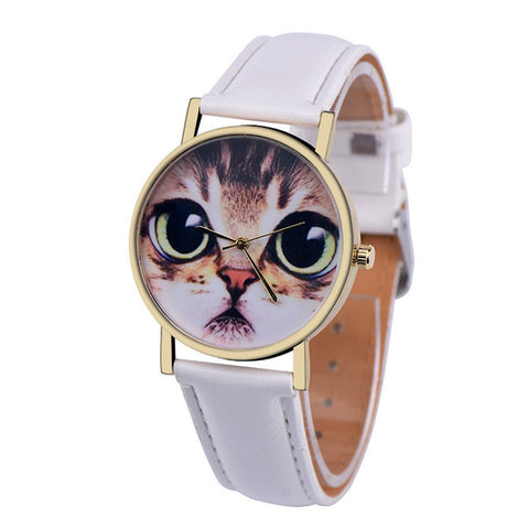 Image of Cat Pattern Leather Watch - I Love Cat Socks