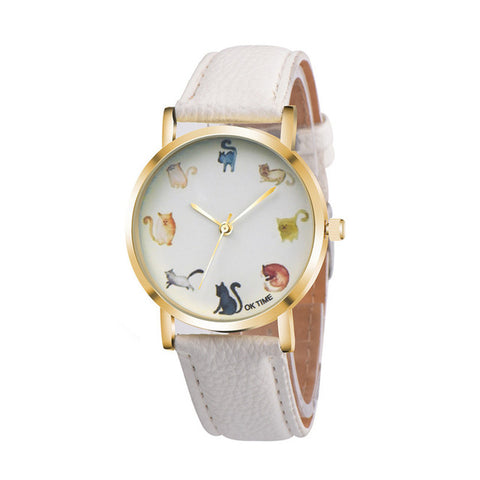 Image of Cat Pattern Round Watch - I Love Cat Socks