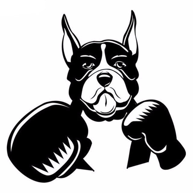 Cute Boxer Dog with Boxing Gloves Car Decal