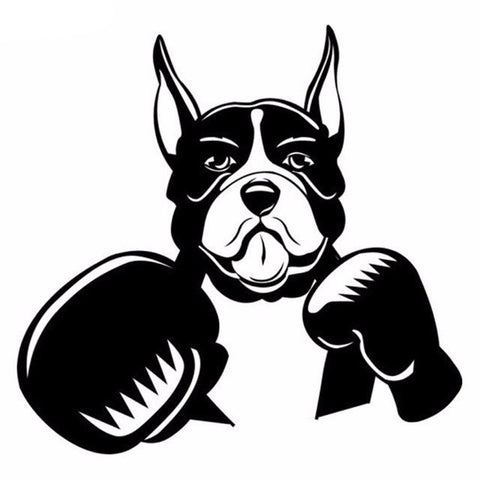 Image of Cute Boxer Dog with Boxing Gloves Car Decal - I Love Cat Socks