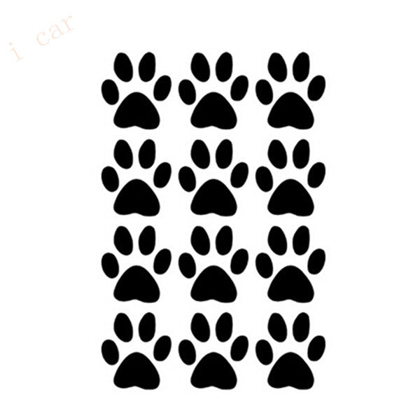 12 pcs. Dog/Cat Paw Prints Car Sticker