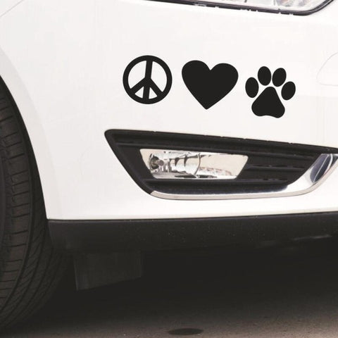 Image of Peace Love Paw Print Dog Car Decal