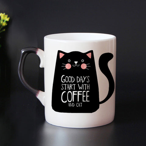 Image of Color Changing Cat Coffee Mug - I Love Cat Socks