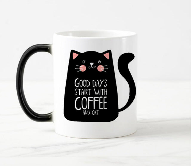 Color Changing Cat Coffee Mug - I Love Cat Socks