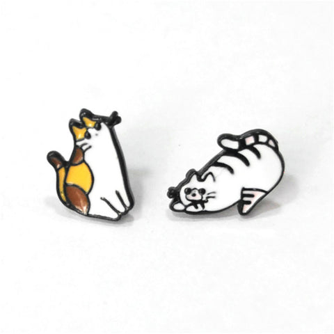 Image of Cute Cat Animals Stud Earrings