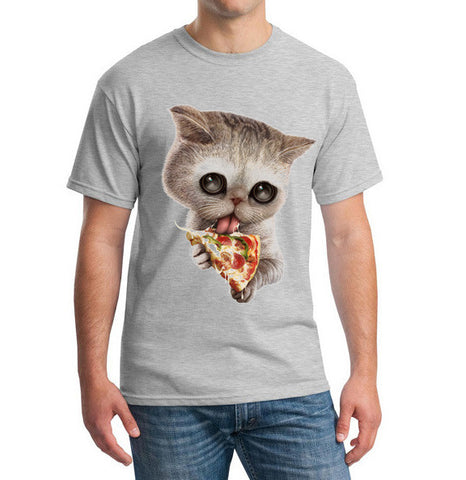 Image of Kitten Licking A Pizza Printed Shirt For Men