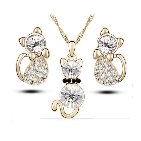 Standing Cat Jewelry Set
