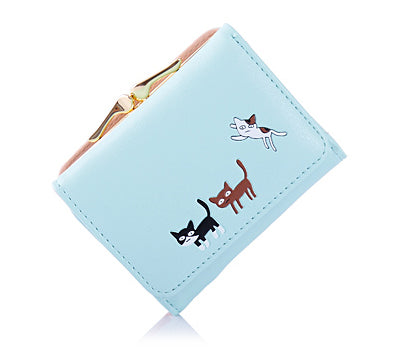 Image of Cat Slim Mini Trifold Leather Wallet - I Love Cat Socks