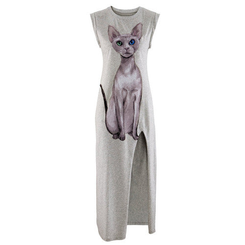 Sexy Cat Printed Dress - I Love Cat Socks - 4