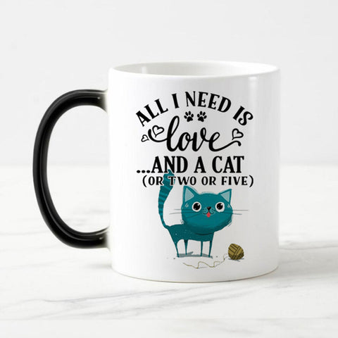 Image of Color Changing Cat Mug - I Love Cat Socks