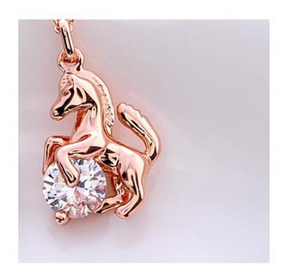 Rearing Horse With Crystal Necklace - I Love Cat Socks - 3