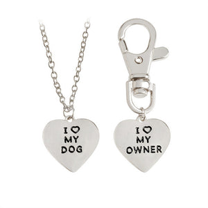I love my dog/I love my owner Necklace And Collar Chain -Set