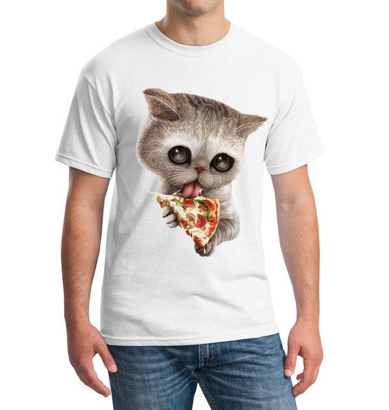 Kitten Licking A Pizza Printed Shirt For Men