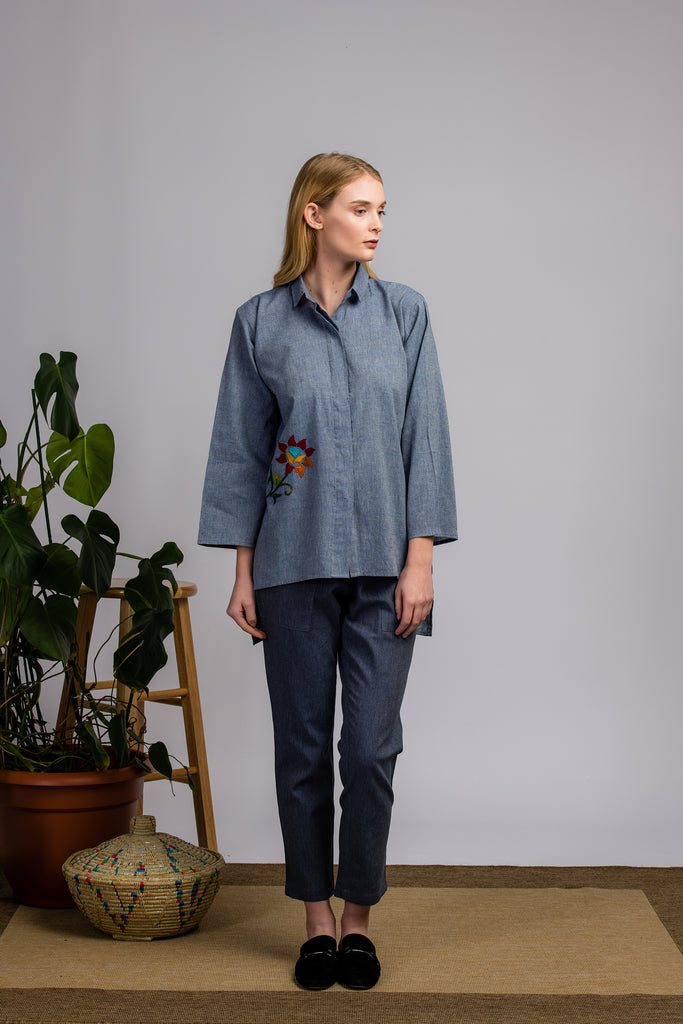 Chambray Square Button Up Shirt
