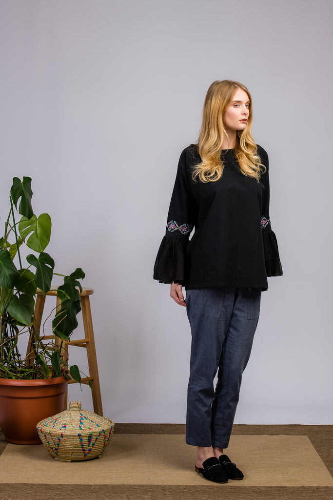 Hand-embroidered Organic Black Blouse