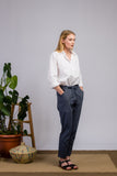 Chambray Ankle Length Cotton Pants