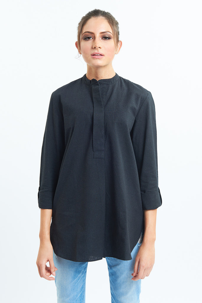 Organic Cotton Shirt Fanaa Blouse Black