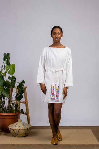 White Short Kimono Dress