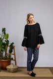Purple Impression Hand Embroidered Organic Black Blouse