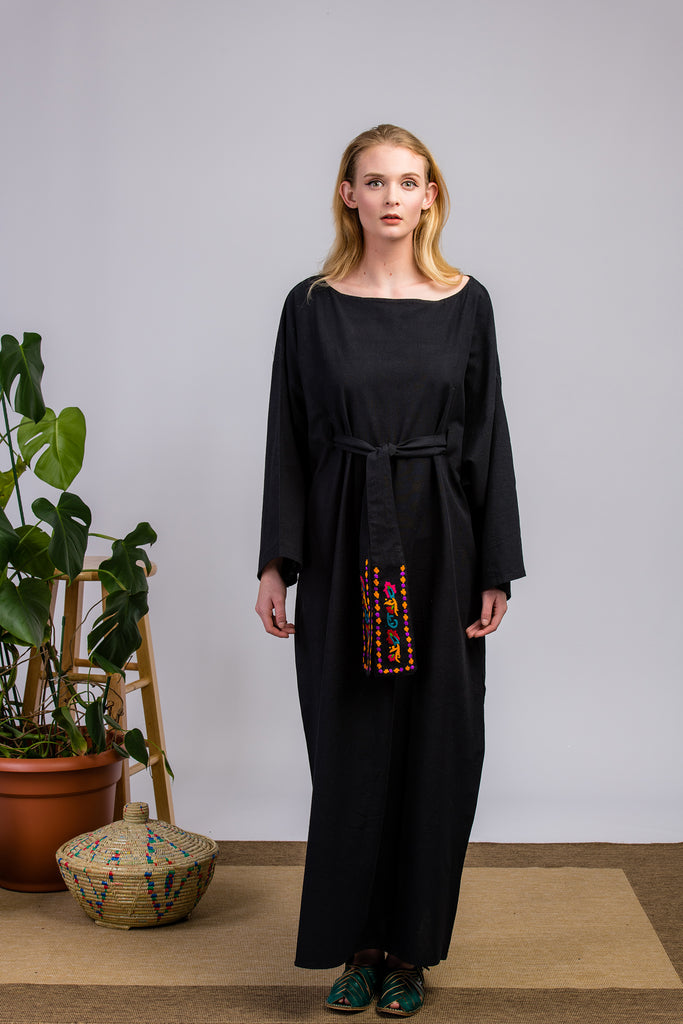 Purple Impression Black Kimono Dress
