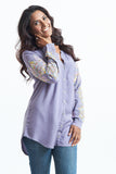 Long Length Tunic Grey Button Down Blouse