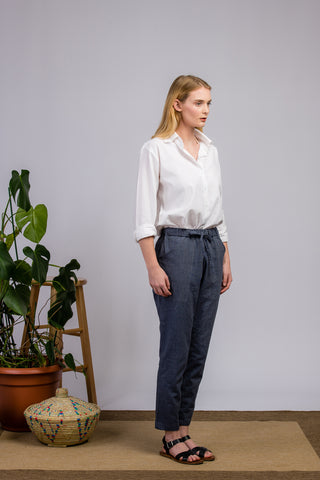 Chambray Ankle Length Pants