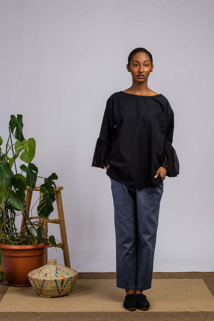 Organic Cotton Black Blouse