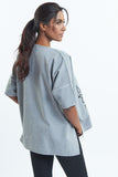 Grey Blouse Short Sleeve-Embroidered Nomad