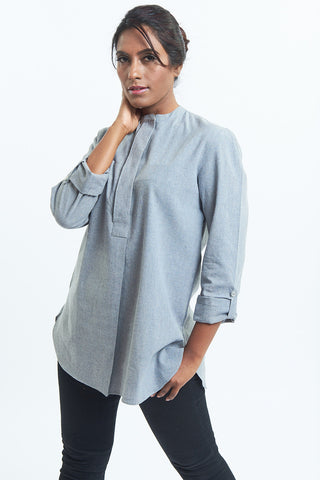 Fanaa Blouse Grey Cotton Shirt