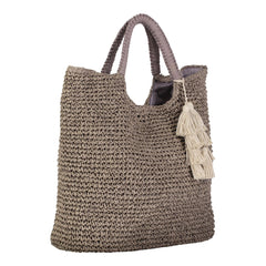MEL -WOVEN STRAW TOTE - TAUPE