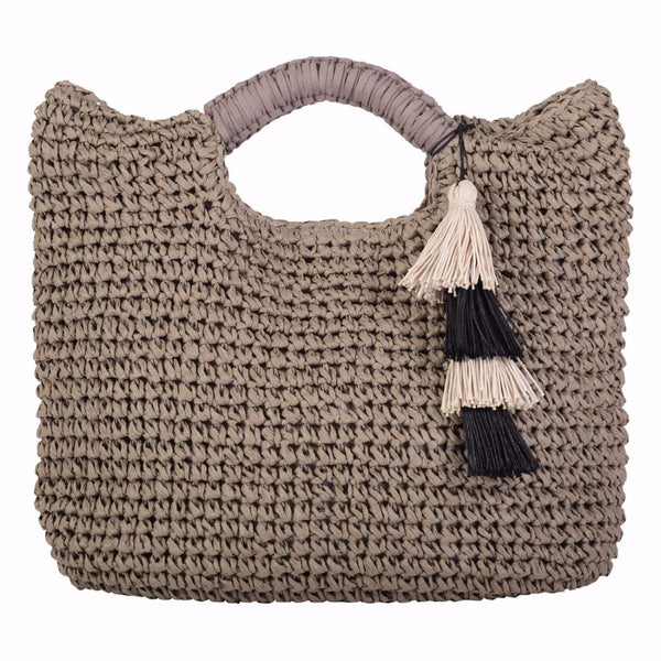 Paloma -  Taupe Woven Straw Tote