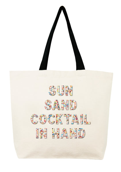 Sun Sand Cocktail In Hand Confetti Bead Tote