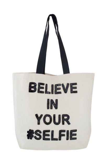 Believe in your Selfie Sequin Tote
