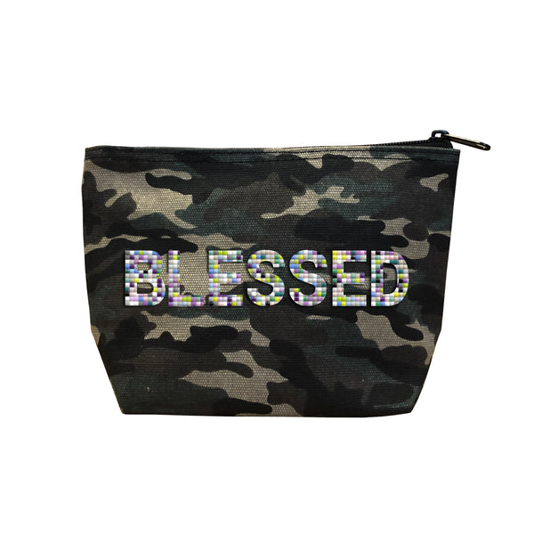 BLESSED - Camo  Beaded Cosmetic