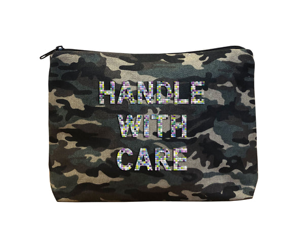 HANDLE WITH CARE - Camo Beaded Bikini Clutch