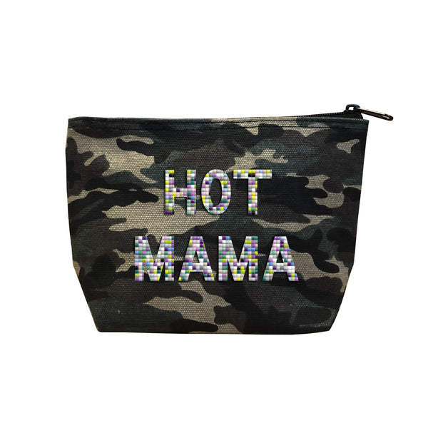 HOT MAMA - Camo  Beaded Cosmetic