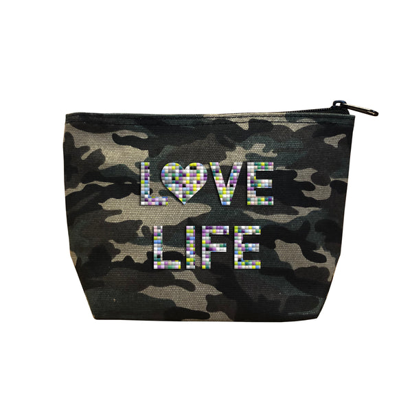 LOVE LIFE - Camo  Beaded Cosmetic