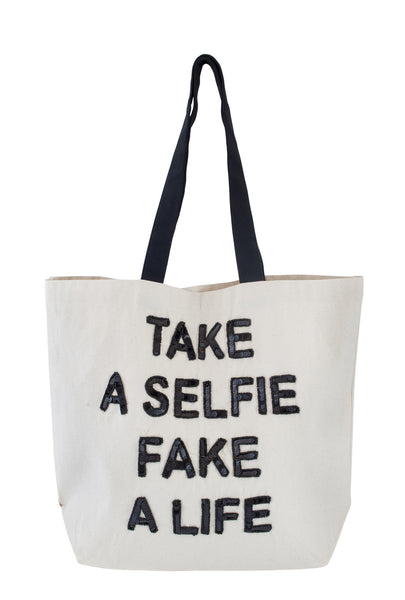 Take a Selfie Fake a Life Sequin Tote