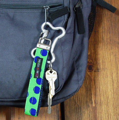 Neon Blue Polka Dots on Green Key Chain