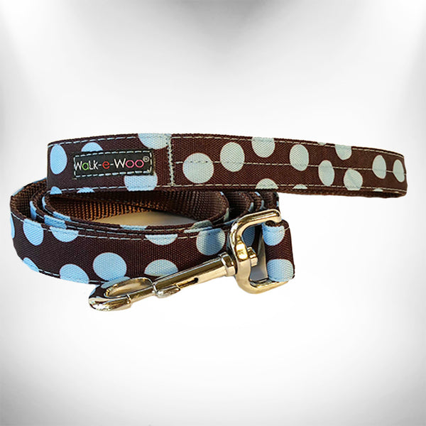 Blue Polka Dot on Brown Dog Leash