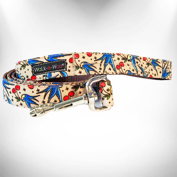 Bluebird & Cherry Dog Leash - WalkeWoo
