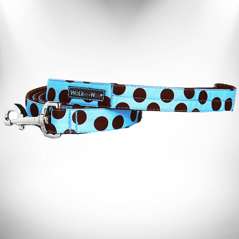 Brown Polka Dot on Blue Dog Leash