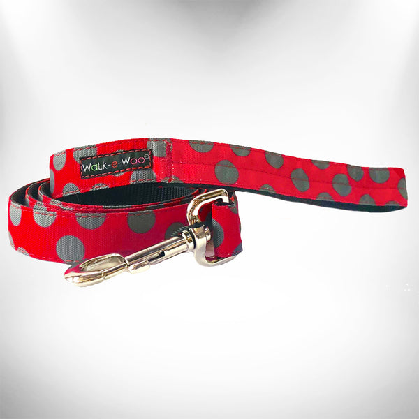 Grey Dots on Red Dog Leash