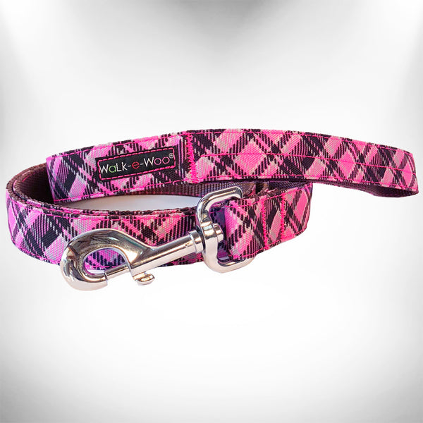 Hot Pink Plaid Dog Leash